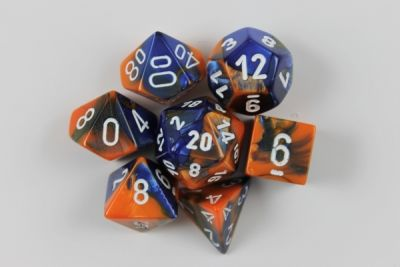 GEMINI BLUE-ORANGE W/WHITE 7-DIE SET