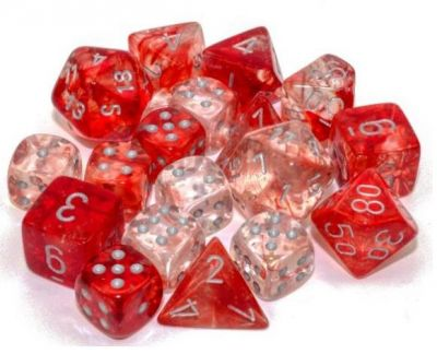 Nebula Luminary Red/Silver Polyhedral 7-Die Set