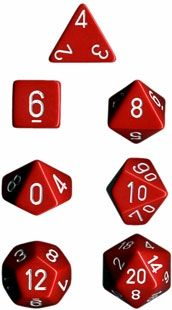 OPAQUE RED/WHITE 7-DIE SET
