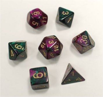 GEMINI GREEN-PURPLE W/GOLD 7-DIE SET