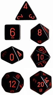 OPAQUE BLACK/RED 7-DIE SET