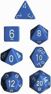 OPAQUE LIGHT BLUE/WHITE 7-DIE SET