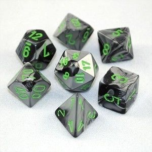 GEMINI BLACK-GREY W/GREEN 7-DIE SET