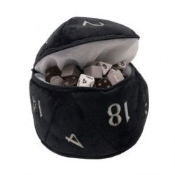 Black D20 Plush Dice Bag