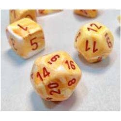 FESTIVE SUNBURST WHITE/RED 7-DICE SET