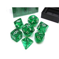 TRANSLUCENT POLYHEDRAL GREEN/WHITE 7 SET