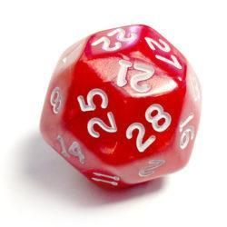 Pearlescent D30 Red/White Loose Dice