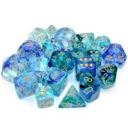 Nebula Luminary Oceanic/Gold Polyhedral 7-Die Set