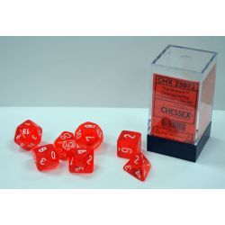 TRANSLUCENT POLYHEDRAL ORANGE/WHITE 7 SET