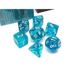 TRANSLUCENT POLYHEDRAL TEAL/WHITE 7 SET