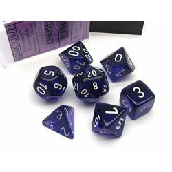 TRANSLUCENT POLYHEDRAL PURPLE/WHITE 7 SET