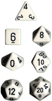 OPAQUE WHITE/BLACK 7-DIE SET