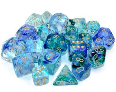 Nebula Luminary Oceanic/Gold Polyhedral 7-Die Set