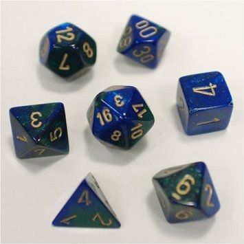 GEMINI BLUE-GREEN W/GOLD 7-DIE SET