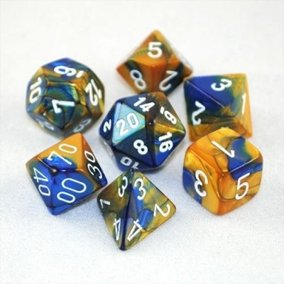 GEMINI BLUE-GOLD/WHITE 7-DIE SET
