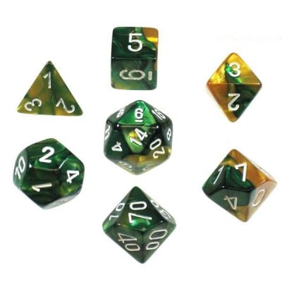 GEMINI GOLD-GREEN W/WHITE 7-DIE SET