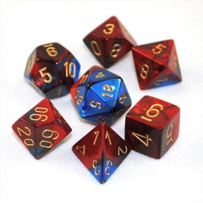 RPG: GEMINI BLUE-RED W/GOLD 7-DIE SET