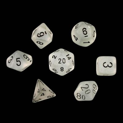 FROSTED CLEAR/BLACK 7-DIE SET