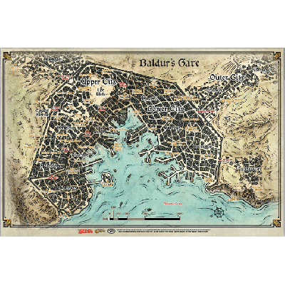 DD5 Baldur's Gate Map (58 x 43cm)