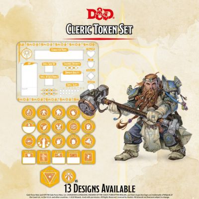 DD5 Cleric Token Set (Player Board & 27 tokens)