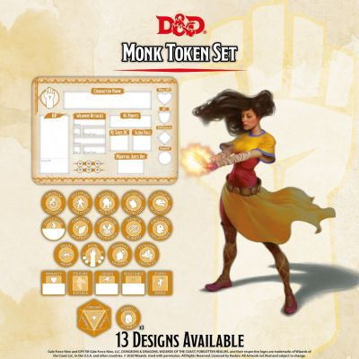 DD5 Monk Token Set (Player Board & 23 tokens)
