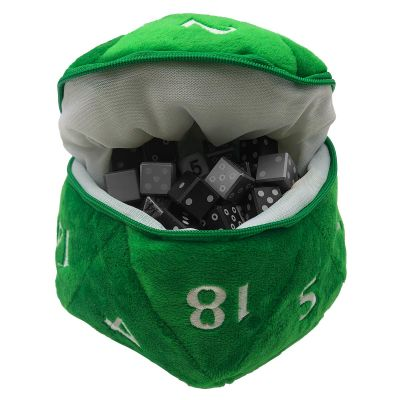 Green D20 Plush Dice Bag