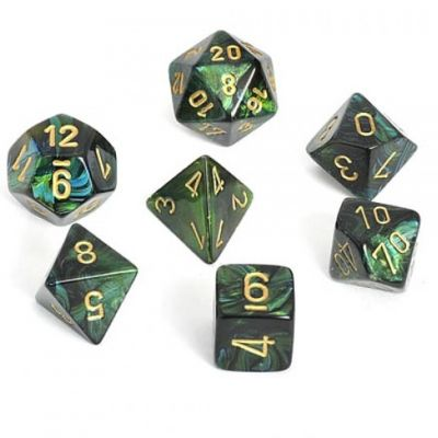 SCARAB JADE/GOLD 7-DIE SET