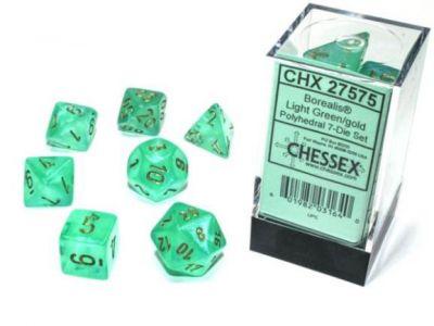 Borealis Luminary Light Green/Gold Polyhedral 7-Die Set