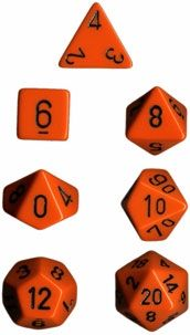OPAQUE ORANGE/BLACK 7-DIE SET