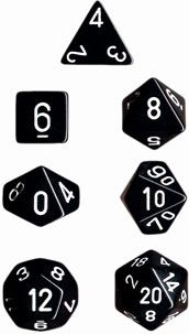 OPAQUE BLACK/WHITE 7-DIE SET