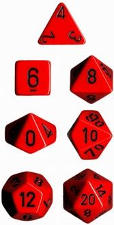 OPAQUE RED/BLACK 7-DIE SET
