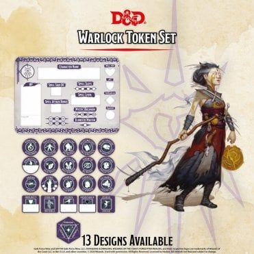 DD5 Warlock Token Set (Player Board & 22 tokens)