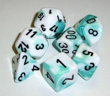 GEMINI WHITE-TEAL W/BLACK 7-DIE SET
